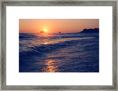 Sunset Swimmer At Zipolite  Framed Print by Lyle Crump