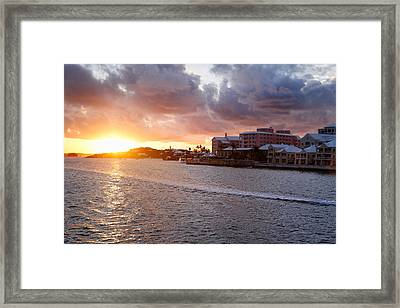 Sunset View Of Hamilton Bay Bermuda Framed Print by George Oze