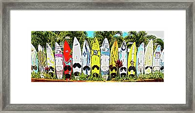 Surfboards In Paia Maui Hawaii Framed Print by ELITE IMAGE photography By Chad McDermott