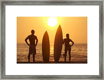 Surfer Silhouettes Framed Print by Larry Dale Gordon - Printscapes