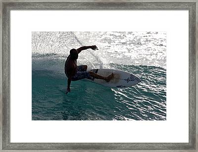 Surfer Surfing The Blue Waves At Dumps Maui Hawaii Framed Print by Pierre Leclerc Photography