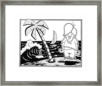 Surfer Toon 4 Framed Print by Aaron Bodtcher