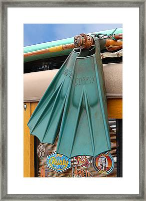 Surfin Fins Framed Print by Ron Regalado