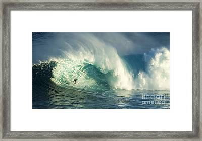Surfing Jaws Maui Hawaii Framed Print by Bob Christopher