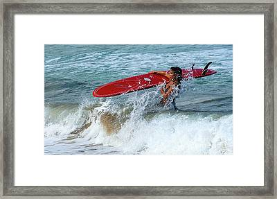 Surfing Maui Hawaii Framed Print by Bob Christopher