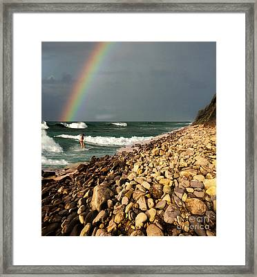 Surfing With Rainbows Framed Print by Bob Christopher