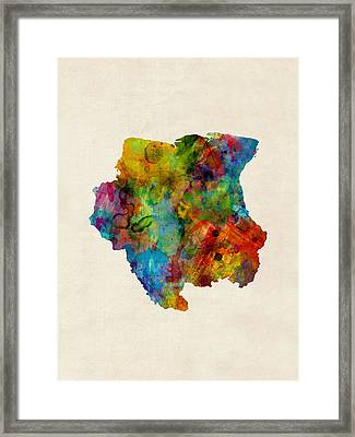 Suriname Watercolor Map Framed Print by Michael Tompsett