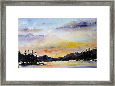 Suset At The Lake Framed Print by Wilfred McOstrich