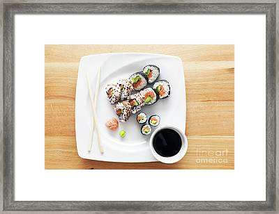 Sushi With Salmon, Avocado, Rice In Seaweed Served With Wasabi And Ginger Framed Print by Michal Bednarek