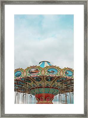 Swings With Stormy Sky Framed Print by Erin Cadigan