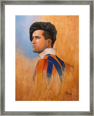 Framed Print featuring the painting Swiss Guard by Joe Winkler