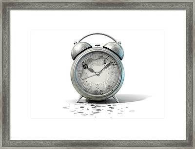Table Clock Time Running Out Framed Print by Allan Swart