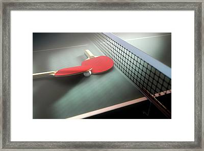 Table Tennis Table And Paddles Framed Print