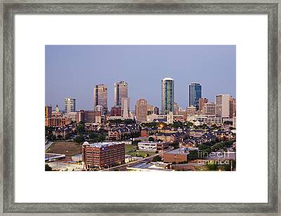Tall Buildings In Fort Worth At Dusk Framed Print