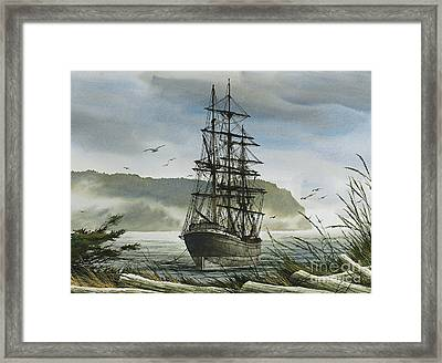 Framed Print featuring the painting Tall Ship Cove by James Williamson