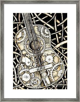 Tangle Guitar Framed Print by Delein Padilla