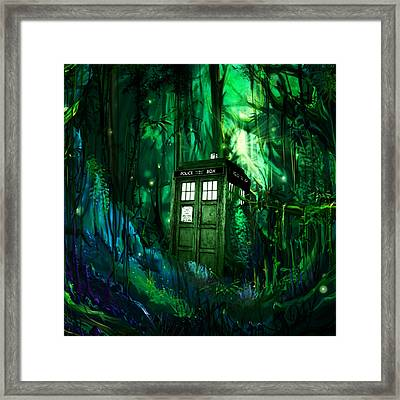 Tardis In The Forest Framed Print by Wahyu Agustian