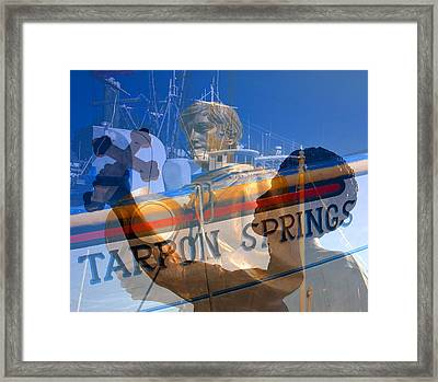 Framed Print featuring the photograph Tarpon Springs Florida Mash Up by David Lee Thompson