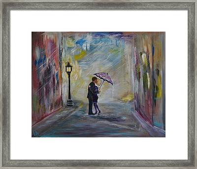 Taxi's Coming Kiss Me Framed Print