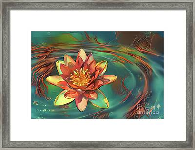 Teal And Peach Waterlilies Framed Print