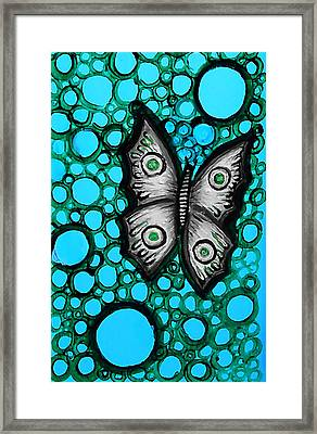 Teal Butterfly Framed Print by Brenda Higginson