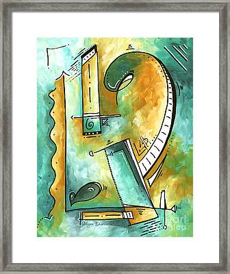Teal Dreams Fun Funky Original Pop Art Style Abstract Painting By Megan Duncanson Framed Print