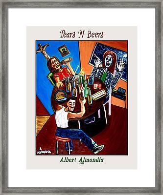 Tears 'n Beers Framed Print by Albert Almondia