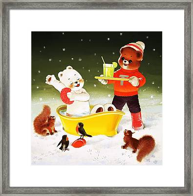 Teddy Bear Christmas Card Framed Print