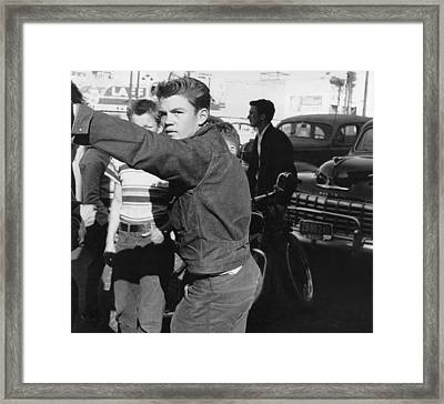 Teenage Youths Hanging Out Framed Print by Underwood Archives