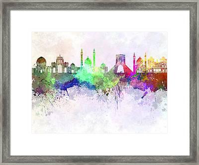 Tehran Skyline In Watercolor Background Framed Print by Pablo Romero