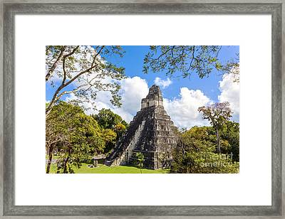 Temple I Of The Jaguar - Mayan Ruins Of Tikal Guatemala Framed Print by Matteo Colombo