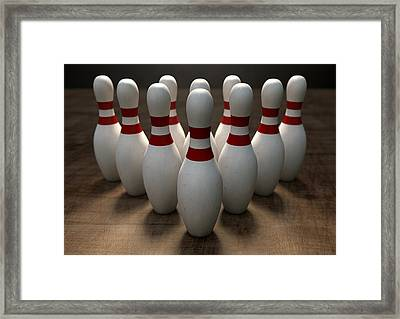 Ten Pin Bowling Pins Framed Print by Allan Swart