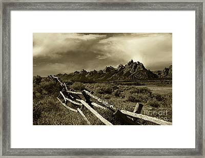 Tetons And Fence Framed Print