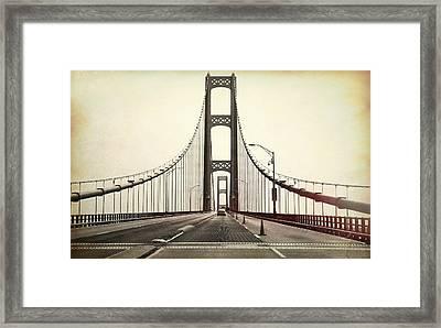 Textured Mackinac Bridge Framed Print by Dan Sproul