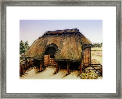 Thatched Barn Of Old Framed Print by Shari Nees