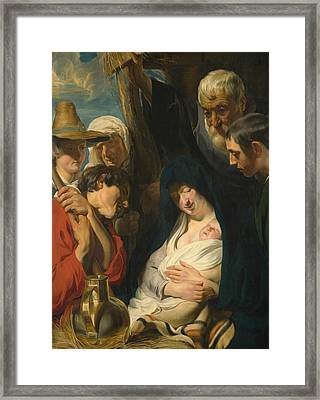 The Adoration Of The Shepherds Framed Print by Jacob Jordaens
