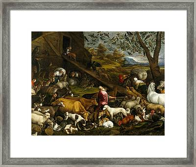 The Animals Entering Noah's Ark Framed Print by Jacopo Bassano