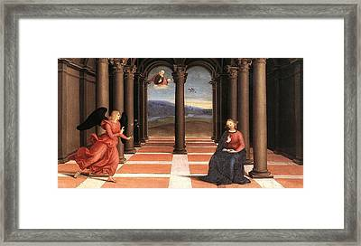 The Annunciation Framed Print by Raffaello Sanzio