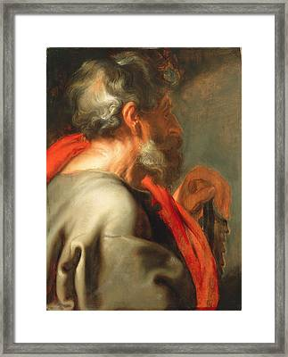 The Apostle Simon Framed Print by Anthony van Dyck