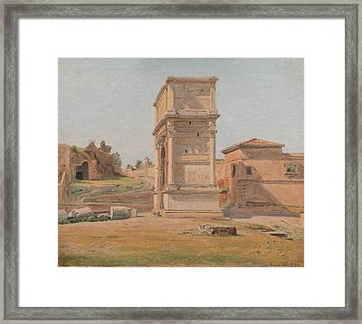 The Arch Of Titus In Rome Framed Print by Constantin Hansen