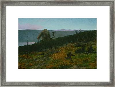 The Ash Lad And The Troll Framed Print by Theodor Kittelsen