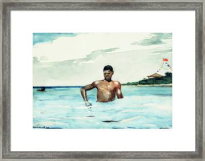 The Bather Framed Print by Winslow Homer