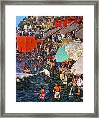 The Bathing Ghats Framed Print by Steve Harrington