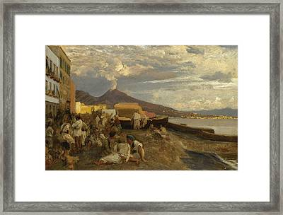 The Bay Of Naples, Vesuvius Beyond Framed Print by Oswald Achenbach
