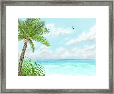 Framed Print featuring the digital art The Beach by Darren Cannell