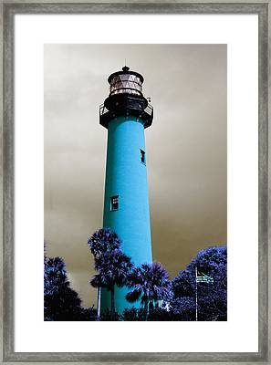 Framed Print featuring the pyrography The Blue Lighthouse by Artistic Panda