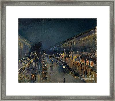 The Boulevard Montmartre At Night Framed Print