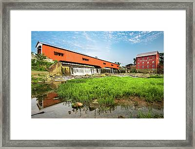 The Bridgeton Mill And Covered Bridge - Indiana Framed Print by Gregory Ballos