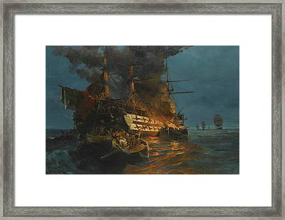 The Burning Of A Turkish Frigate Framed Print by Konstantinos Volanakis