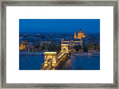 The Chain Bridge In Budapest Framed Print by Kobby Dagan